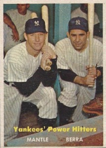 1957 Topps 407 Yankees Power Hitters Mickey Mantle, Yogi Berra