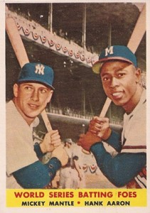 1958 Topps 418 World Series Batting Foes Mickey Mantle Hank Aaron