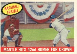 1959 Topps 461 Mickey Mantle Baseball Thrills