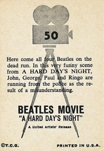 1964 Topps Beatles Movie A Hard Day's Night Trading Cards - Back