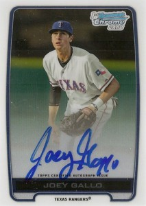 2012 Bowman Draft Chrome Prospect Autographs Joey Gallo