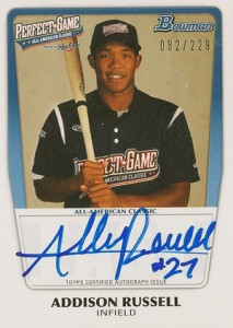 2012 Bowman Draft Perfect Game Autographs Addison Russell 229