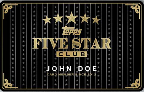 Topps Five Star Club Membership Card