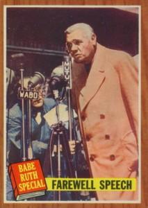 1962 Topps Babe Ruth 144 Farewell Speech
