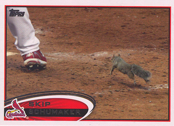 2012 Topps Baseball Skip Schumaker Rally Squirrel Variation
