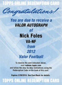 2012 Topps Valor Football Valor Autographs Guide 27