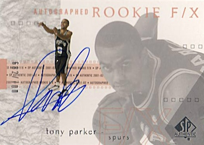2001-02 SP Authentic Tony Parker RC #138 Autograph #/700