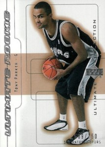 2001-02 Ultimate Collection Tony Parker RC #64 #/750
