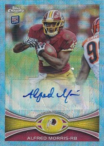 2012 Tops Chrome Football Blue Wave Refractor Autographs BWA-AM Alfred Morris