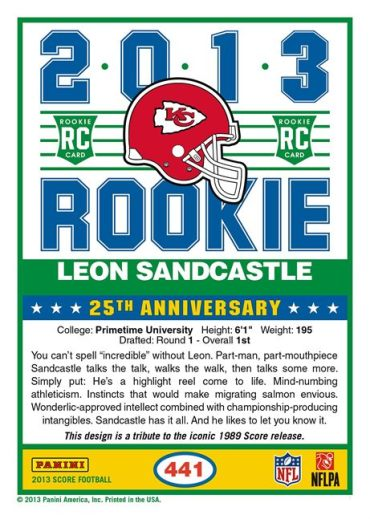 Leon Sandcastle Football Cards to Appear in 2013 Panini and Topps Products 2