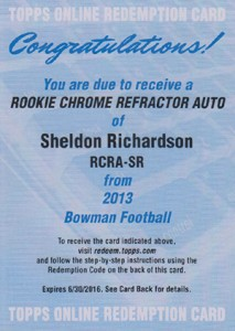 2013 Bowman Football Rookie Chrome Refractor Autographs Guide 35