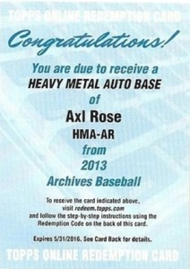 2013 Topps Archives Baseball Heavy Metal Autographs Axl Rose Redemption