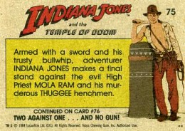 1984 Topps Indiana Jones and the Temple of Doom Trading Cards 2