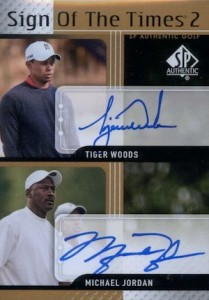 2012 SP Authentic Sign of the Times Duals Tiger Woods Michael Jordan Autograph