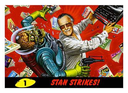 Stan Lee Swings the Mighty Typewriter of Doom on Mars Attacks Promo Card 1
