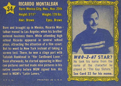 1953 Topps Who-Z-At Star 34 Ricardo Montalban Back