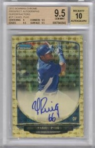 2013 Bowman Chrome Prospect Autographs Superfractor Yasiel Puig