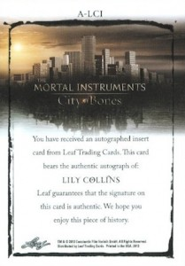 2013 Leaf The Mortal Instruments: City of Bones Autograph Guide 2