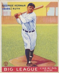 1933 Goudey World Wide Gum Babe Ruth #80