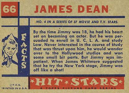 1957 Topps Hit Stars James Dean Back