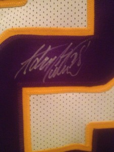 Adrian Peterson Signed Jersey Closeup