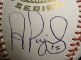 Albert Pujols Signed WS Ball Close-up