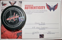 Alexander Ovechkin Signed Puck Both