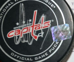 Alexander Ovechkin Signed Puck Close