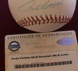 Andy Pettitte Steiner Auto 260x237 Image