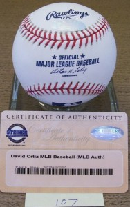 David Ortiz Signed Ball w- COA