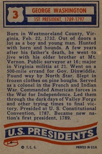 1956 Topps US Presidents Trading Cards 2
