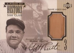 1999 Upper Deck A Piece of History Babe Ruth