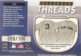 2001 Donruss Elite Threads Babe Ruth Back