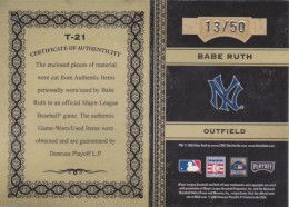2005 Playoff Prime Cuts Babe Ruth Timeline Back