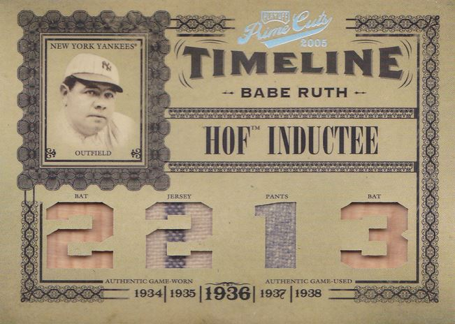 2005 Playoff Prime Cuts Babe Ruth Timeline
