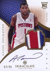 2012-13 Panini Immaculate Rookie Patch Autograph 141 Andre Drummond