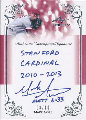 2013 Leaf Trinity Baseball Inscription Autographs Mark Appel