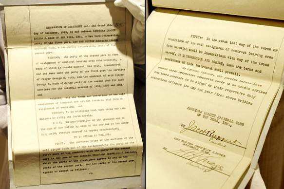 Babe Ruth 1919 Yankees Contract