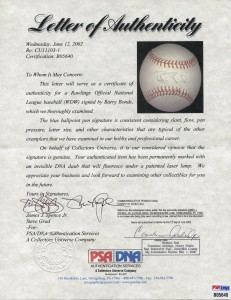 Barry Bonds Signed Ball COA