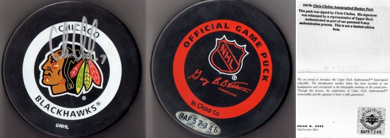 Chris Chelios Signed Puck