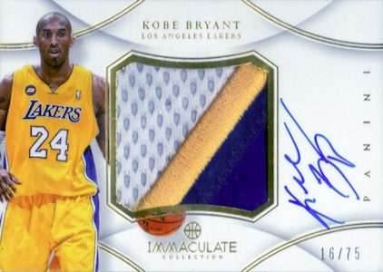 2012-13 Immaculate Kobe Bryant Autographed Patch
