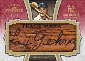 2012 Topps Five Star Baseball Lou Gehrig Bat Barrel