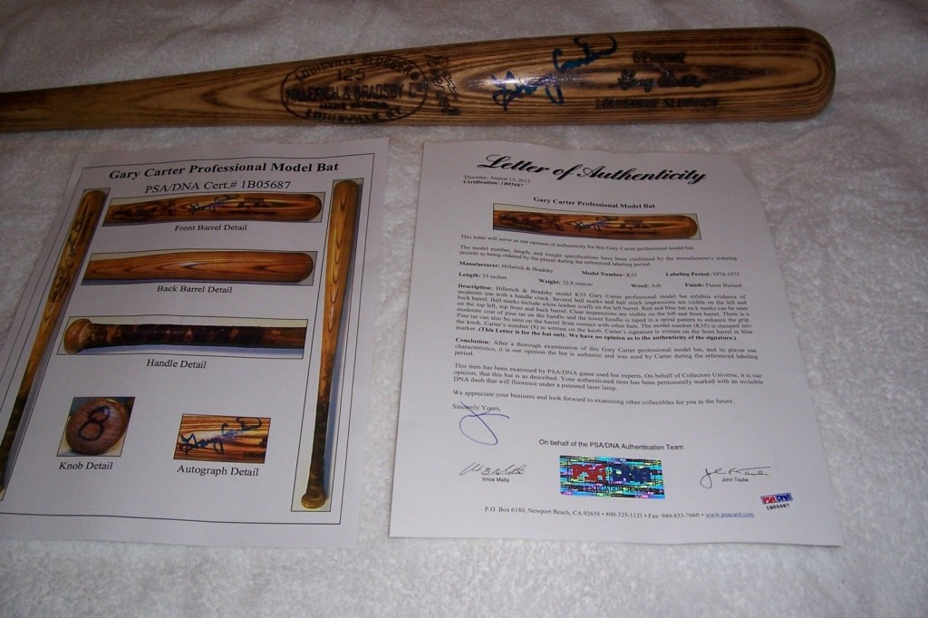 Gary Carter Signed and  Game Used Bat