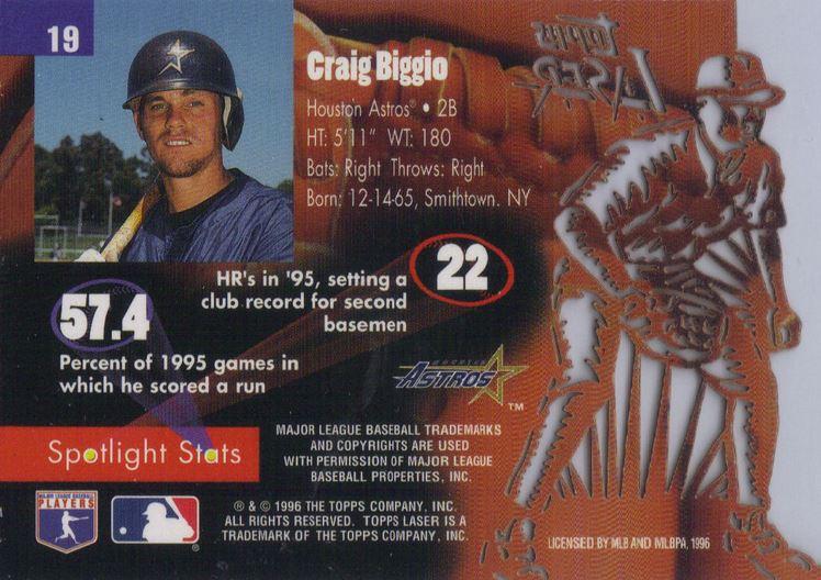 1996 Topps Laser Craig Biggio Back