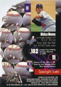 1996 Topps Laser Hideo Nomo Back