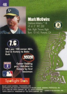 1996 Topps Laser Mark McGwire Back