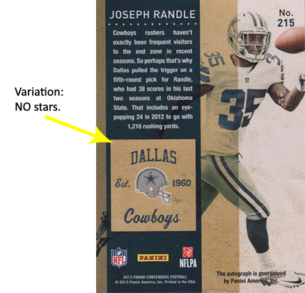 2013 Panini Contenders Rookie Ticket Autographs Variations Guide 2