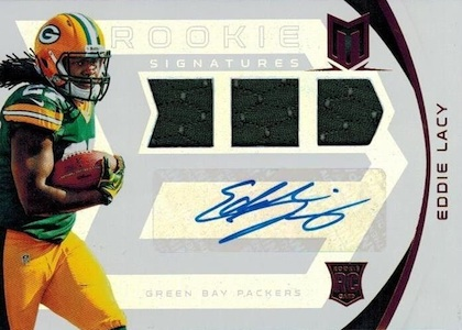 2013 Panini Momentum Eddie Lacy RC 130 Autographed Jersey Image