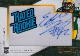 2013 Panini Prominence Eddie Lacy RC 130 Rookie Embroidered Rated Rookie Patch Signature 260x184 Image