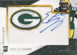 2013 Panini Prominence Eddie Lacy RC 130 Rookie Embroidered Team Logo Patch Signature 260x186 Image